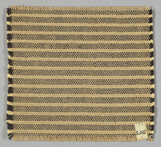 Horizontally striped plain weave with paired warps in shades of brown and pale yellow. Paired warps are beige and light brown. Weft is comprised of heavy two-ply yarns in dark brown and pale yellow.