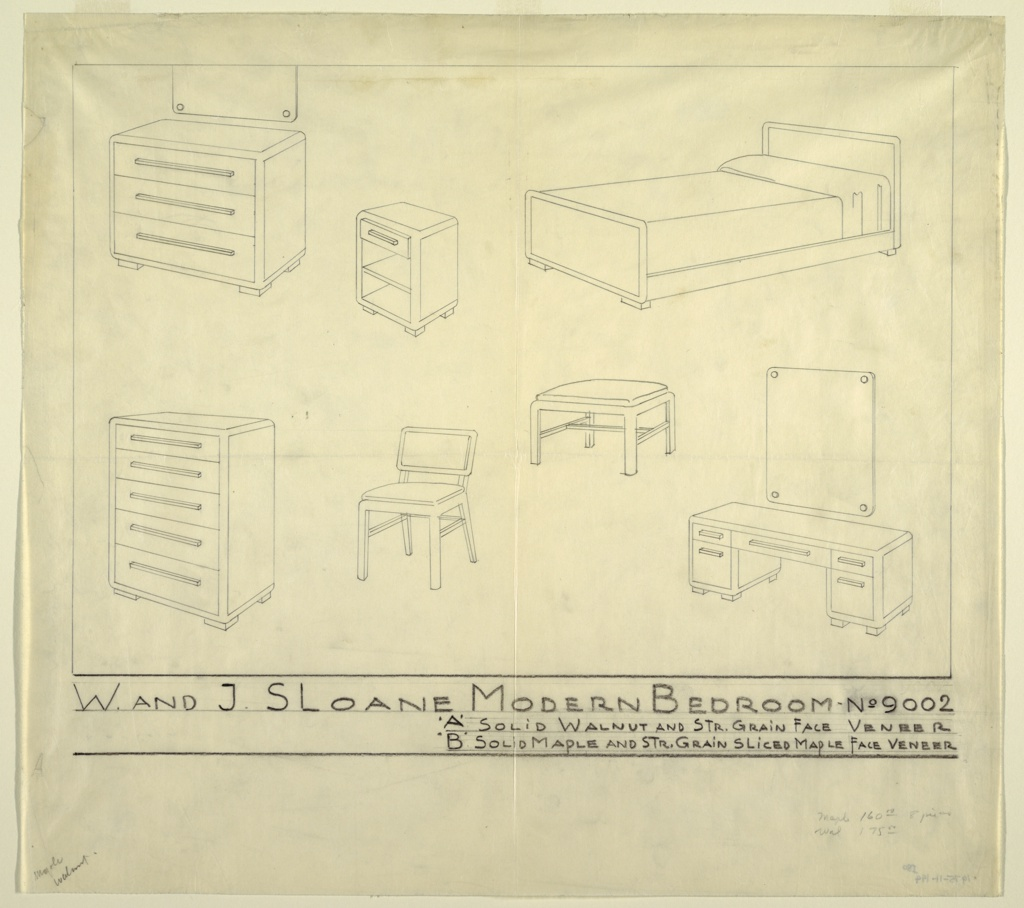 Drawing, Design for W. and J. Sloane Modern Bedroom No. 9002