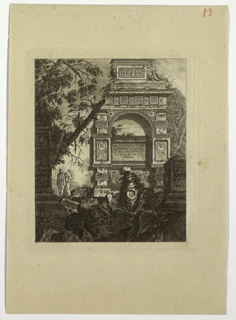 "Print, Frontispiece, vasi invention, from ""Collection de divers sujets de vases, tombeaux, ruines et fontaines, utile aux artistes..."""