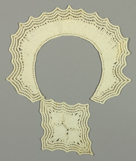Passementerie for a collar. Fine white muslin ribbon strips, stitched together with openwork bar accents in the form of a scalloped collar with front diamond shaped medallion. 1930s.