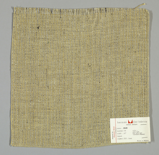 Coarsely-woven plain weave in light tan and grey. Both warp and weft are comprised of light tan and grey threads. Grey threads are loosely twisted with black.