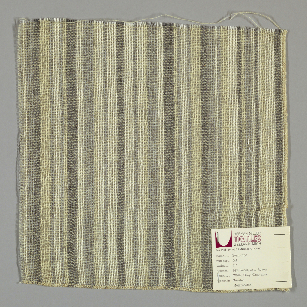Plain weave in uneven vertical stripes of white, off-white, light grey and dark grey. Number 641.