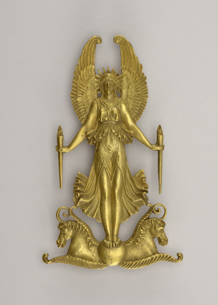 a winged goddess holding two torches, between two hippocamps