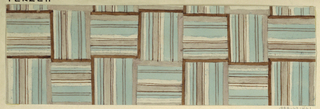 Woven pattern in light blue, gray and brown.