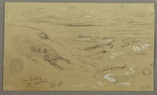 Recto: A slope is shown in the left foreground. View from across the foothills and the plain toward a mountain range. Inscribed across scene: snow / yellow / dark brown / brown / rich brown yellow / gold In ink, bottom left: overlooking / El Arabah / Feb 20th Verso: At left, a rocky wall partially shaped into columns, a bird flying above. Inscribed across scene: gold / 3 flint color. At right, a rock shaped like the lower part of a column. Written top center: El Yemen.