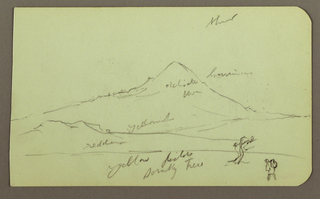 Drawing, Mountain, tree, figure; Verso: church, tree, 1883
