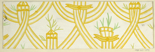 Stylized interlacing swags with branches growing from curled sections in gold and green on white background.