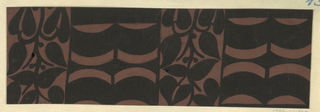 The Monte Zuma textile design consists of rhythmic geometric shapes in the form of alternating curving bands and plant vines in black. This color variation is in chocolate brown and black.