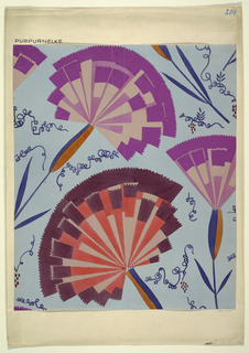 Drawing, Textile Design: Purpurnelke (Purple Pink)