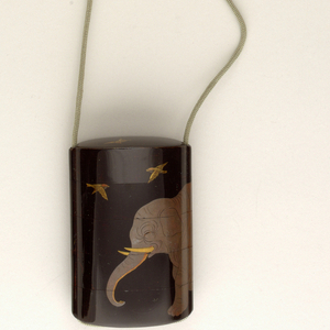 Five sections, with an elephant and three flying birds in rubbed lacquer (togidashi), gold, silver, and red on black (ro-iro) background.  Inside gold nashiji lacquer.  Mounted with ojime 1952-164-36 and netsuke 1952-164-37. Bliss 11776, See 1952-164-32.