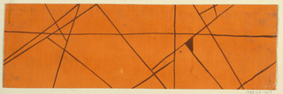 Crisscrossing lines in brown on orange ground.