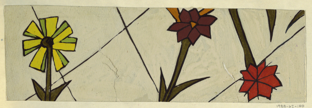 Three flowers with green stems; one in lime and green, another in brown and tan, and another in red-orange, all outlined in black, on a grayish-white background with a partial diamond pattern.