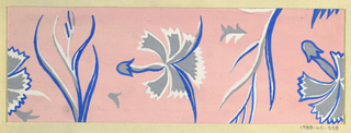 Pattern of floral motifs in white, cobalt and gray on pink ground.