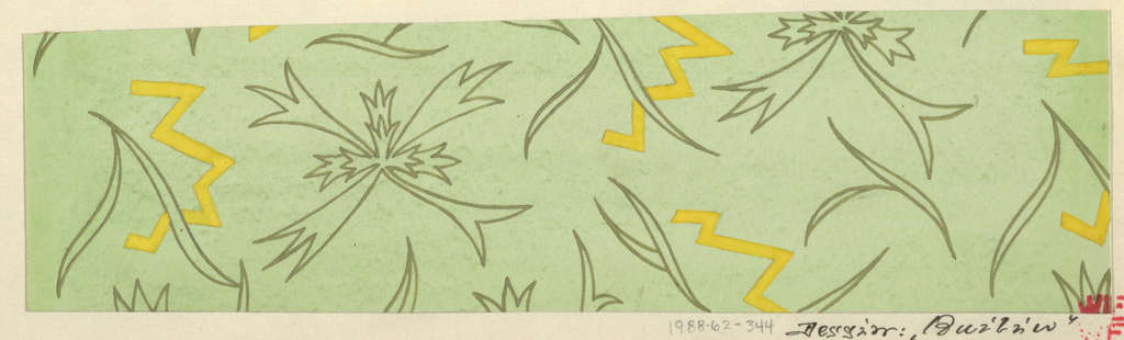 Irregular star shapes alternating with lightening shapes in green and yellow on pale green background.