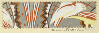 Pattern of abstract shapes—lines and zigzags—in orange, black and brown, white bird with orange feathers on gray ground, in saw-toothed edge sample.