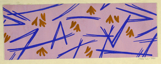 Scattering of blades of grass in royal blue and ochre on pink ground.