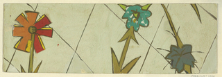 Three flowers with olive stems; one in orange, red, and yellow, another in teal, and another in dark teal, all outlined in black, on a greenish-white background with a partial diamond pattern.