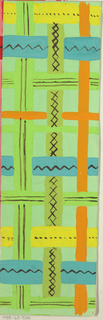 Woven pattern in yellow, orange, and blue on a green ground.