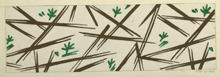 Scattering of blades of grass in dark brown and forest green on white ground.