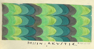 Vertical rows of scalloped edges in brownish-purple, chartreuse, lime, gray and blue.