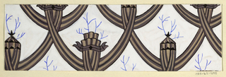 Stylized interlacing swags with branches growing from curled sections in brown and blue on white background.