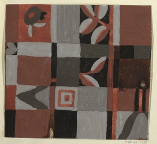 Checkered ground in red and gray tones with contrasting geometric and floral forms.