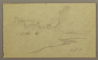 """Drawing, Clouds and Shore, """"Bloxburgh"""", August 1865"""