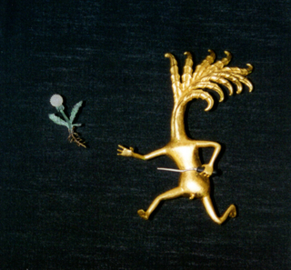 Figure Pin #147 (Wingnut and Errant Dandelion) Brooch With Holder