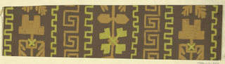 Pattern of vertical rows, some Greek keys and other totemic shapes in tan and ochre on brown ground.