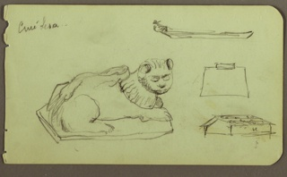 Drawing, Statue of Lion, Skiff; Verso: Statue of Lion, December 1883