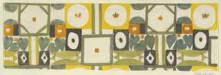 Abstract pattern of octagons, circles, squares and semi-circles alternating with heart-shaped leaves in gold, gray-green, and butterscotch.
