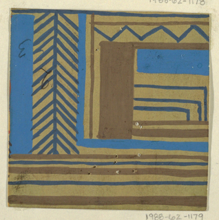 On tan ground, partial view of geometric pattern with overlapping vertical, horizontal, and diagonal lines in brown and blue.