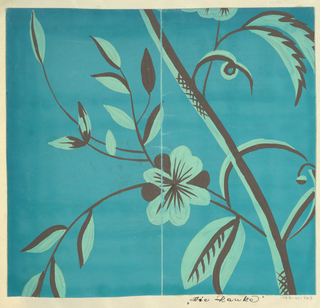 Thin branches with blossoms and leaves in mint and brown on turquoise ground.