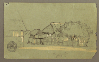 Recto: Horizontal oblique view of a street, directed toward the left, with a group of trees standing beside the first housee at right as a fence surrounds the lot.
