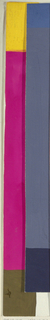 Partial view of pattern design with yellow colorblock at top, fuchsia at center, and brown at bottom.