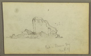 "Drawing, Bireds, ""Rock in Panama Bay""; Verso: ""Heavy Vines"", May 15, 1857"