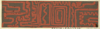 Partial view of pattern design with labyrinthine series of lines creating a maze-like pattern in red on brown ground.