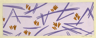 Scattering of blades of grass in purple and ochre on lavender ground.