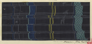 Vertical folded ribbons, thick and thin, in blue, gray and yellow; outlines of flower, leaf, and asterisk in gray, on black ground.
