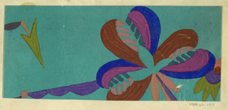 Floral motif with three large toothed petals in ochre, blue, purple and pink; arrow-shaped leaf at left and scalloped leave at right in green, on blue background.