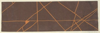 Crisscrossing lines in orange on brown ground.