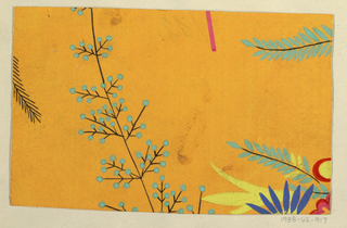 Large floral branch motif in blue, yellow, red-orange on yellow ground.