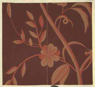 Thin branches with blossoms and leaves in persimmon and beige on brown ground.