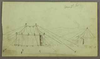 Drawing, A Decorated Oblong Tent and a Circular Tent Fastened by Ropes, March 2, 1868