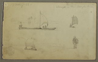 Horizontal view showing in top row, at left:  a sail boat with three men in it, and a bank of the river; at right: a sail boat shown from the stern; at bottom left: a sail boat with one man in it and a river bank; at right: a walking man carrying wood on the back, shown form the back.
