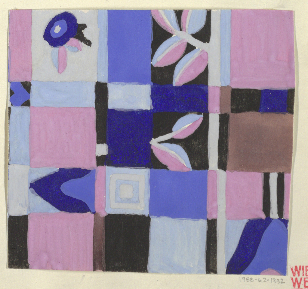 Checkered ground in blue, purple, and pink tones with contrasting geometric and floral forms.