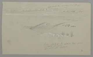 Drawing, View across the Hills and Plain toward the Mountains, Valley of El Yemen