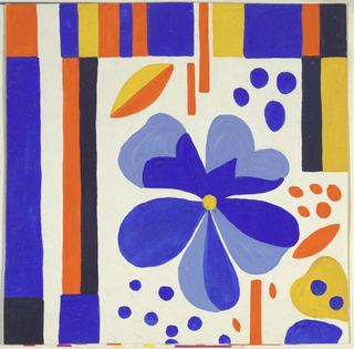 On white ground, partial view of pattern design with blue flower at center surrounded by petals and organic shapes in orange, blue, and yellow. Blocks of colofrul stripes surround the design in orange, blue, black, and yellow.