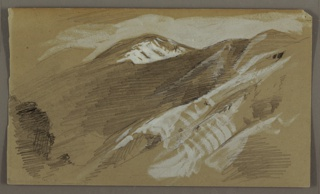 Oblique horizontal view of a mountain range stretching toward the left rear.
