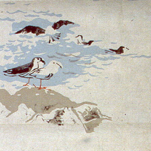 A pair of seagulls standing on a rock at waters edge.  In alternating scene, group of birds swims. Printed in blue, taupe, black and orange on background simulating Japanese paper.